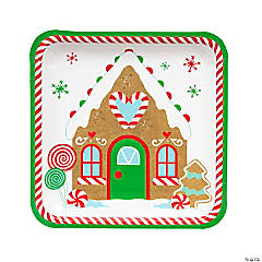Gingerbread Party Square Dinner Paper Plates