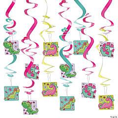 Girl Dinosaur Party Hanging Swirl Decorations - 12 Pc.