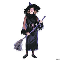 Girl's Black Feather Witch Costume - Large