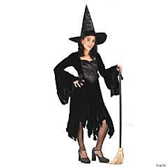 Girl's Black Velvet Witch Costume - Small