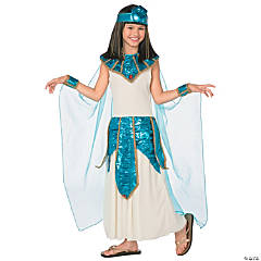 Girl's Blue & Gold Cleopatra Costume - Large
