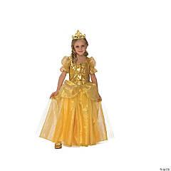 Girl's Golden Princess Costume Dress - Large