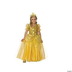 Girl's Golden Princess Costume Dress - Medium