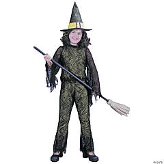 Girl's Green Funky Witch Costume - Large