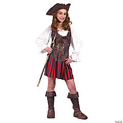 Girl's High Seas Pirate Buccaneer Costume - Large