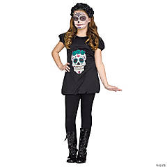 Girl's Day of the Dead Romper Costume - Large