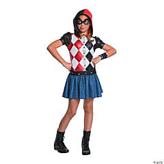 Girl's DC SuperHero Girls™ Harley Quinn Hooded Dress Costume - Large