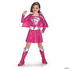 Girl's Pink Deluxe Supergirl™ Costume - Medium