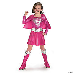 Girl's Pink Deluxe Supergirl™ Costume - Small