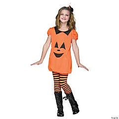 Girl's Pumpkin Romper Costume - Large