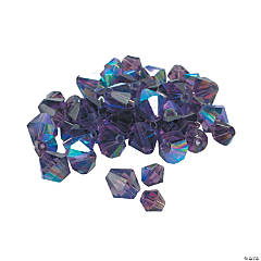 Glass Amethyst Aurora Borealis Cut Crystal Bicone Beads - 4mm-6mm