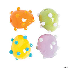 Glass Bright Easter Egg Lampwork Beads - 15mm