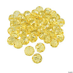 Glass Canary Yellow Cut Round Crystal Beads - 8mm