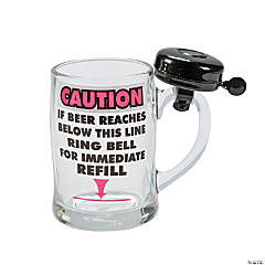 Glass Caution Beer Mug with Bell