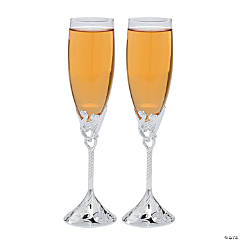 Glass Embossed Heart Champagne Flutes