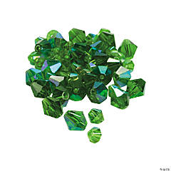 Glass Emerald Aurora Borealis Cut Crystal Bicone Beads - 4mm-6mm