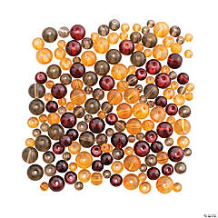 Glass Fall Colors Round Bead Mix