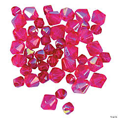 Glass Fuchsia Aurora Borealis Cut Crystal Bicone Beads - 4mm-6mm