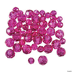Glass Fuchsia Crystal Round Beads - 4mm-6mm