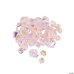 Glass Light Pink Aurora Borealis Cut Crystal Bicone Beads - 4mm-6mm