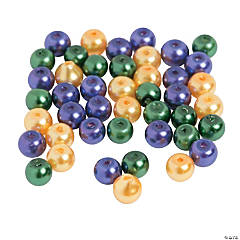 Glass Mardi Gras Pearl Beads - 4mm
