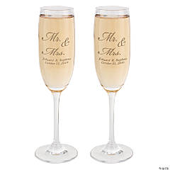 "Glass Personalized ""Mr. & Mrs."" Flutes"