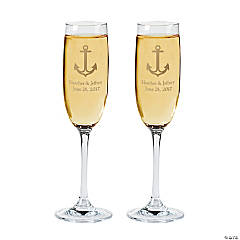 Glass Personalized Nautical Wedding Flutes