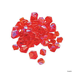 Glass Ruby Aurora Borealis Cut Crystal Bicone Beads - 4mm-6mm