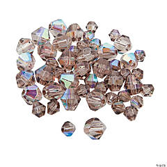 Glass Smokey Quartz Aurora Borealis Bicone Crystal Beads - 4mm-6mm