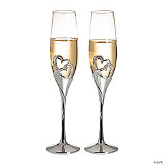 Glass Stacked Heart Personalized Wedding Flutes