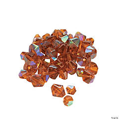 Glass Topaz Aurora Borealis Cut Crystal Bicone Beads - 4mm-6mm