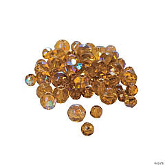 Glass Topaz Aurora Borealis Cut Crystal Round Beads - 4mm-6mm