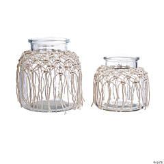 Glass Vase Set with Macramé Trim