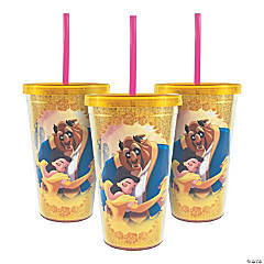 Glitter Beauty & the Beast Tumblers with Lid & Straw