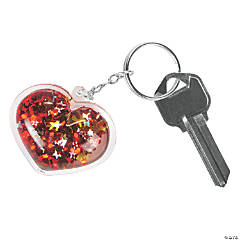 Glitter-Filled Heart Keychains