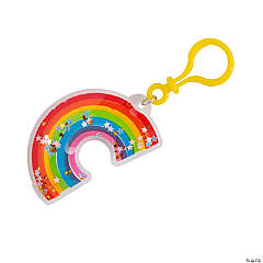 Glitter-Filled Rainbow Backpack Clip Keychain