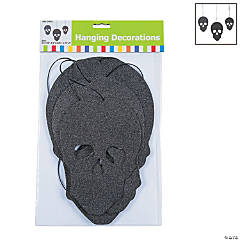 Glitter Hanging Skulls Halloween Decoration