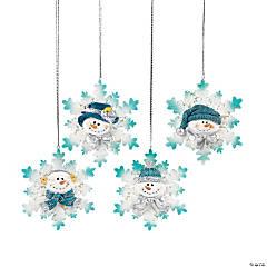 Glitter Snowman Snowflake Christmas Ornaments