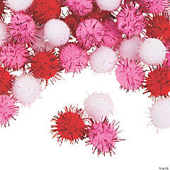 Glitter Valentine Pom-Poms