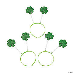 Glittering Green Shamrock Head Boppers Clip Strip
