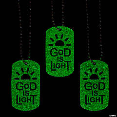 Glow-in-the-Dark God is Light Dog Tag Necklaces