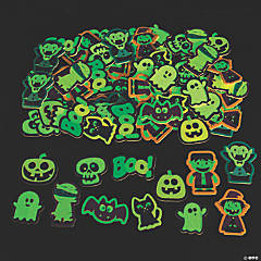 Glow-in-the-Dark Halloween Self-Adhesive Shapes