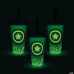 Glow-in-the-Dark Marvel™ Captain America Tumblers with Lid & Straw