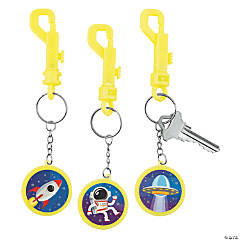Glow-in-the-Dark Space Backpack Clip Keychains