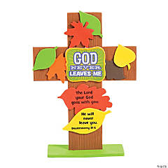 God Never Leaves Me Cross Stand Up Craft Kit