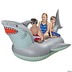 GoFloats Giant Inflatable Shark Pool Float With Shark Drink Float