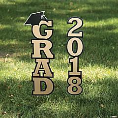 Gold 2018 Grad Yard Sign