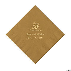 Gold 50th Anniversary Personalized Napkins with Gold Foil - Beverage
