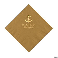 Gold Anchor Personalized Napkins with Gold Foil - Luncheon