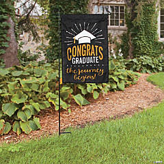 Gold & Black Graduation Garden Flag